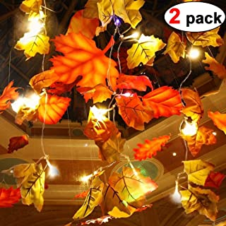 2 Pack Maple Leaves Garland String Lights 40 LED Lights 20ft Waterproof Fall Decoration Seasonal Lights for Holiday Party Indoor Outdoor Decor Birthday Gift 3AA Battery Operated