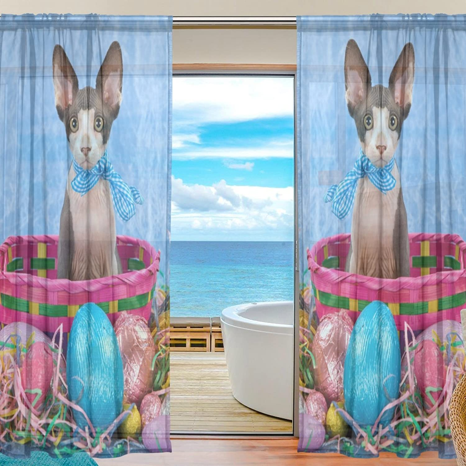 Vantaso Sheer Curtains 78 inch Long Sphinx Sphynx Kitten with Easter Eggs for Kids Girls Bedroom Living Room Window Decorative 2 Panels