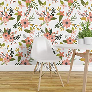 Spoonflower Peel and Stick Removable Wallpaper, Coral Flowers Floral Botanical Spring Print, Self-Adhesive Wallpaper 24in x 36in Roll