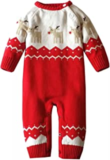 Infant and Toddler Baby Boys Girls Christmas Reindeer Romper Knitted Sweaters Outfit Jumpsuits