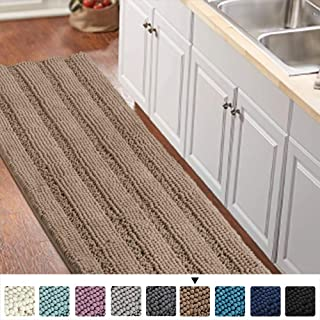Luxurious Shaggy Chenille Kitchen/Bath Mat Non-Slip Kitchen Rug Taupe Brown Chenille Rug Striped Kitchen Mat Runner Water Absorbent Bath Rug Runner for Kitchen Floor, Taupe Brown, Size 59 & 20 Inches