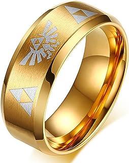 Nanafast 8mm The Legend of Zelda Triforce Ring, Stainless Steel Matte Finished Bands