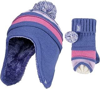 Girls FairIsle Fleece Lined Bobble Hat Winter Beanie Pom Pom Age 4-10 yrs