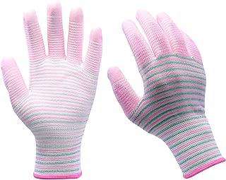 Women Gardening Pu Coated Stripe Work Gloves 12 Pairs Palm Reinforced Durable Safety Working Glove With Super Grip(stripe M).