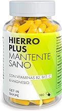 HIERRO PLUS - 180 capsulas de suplemento hierro con vitamina B12, vitamina C y magnesio – vegano – de Get in Shape