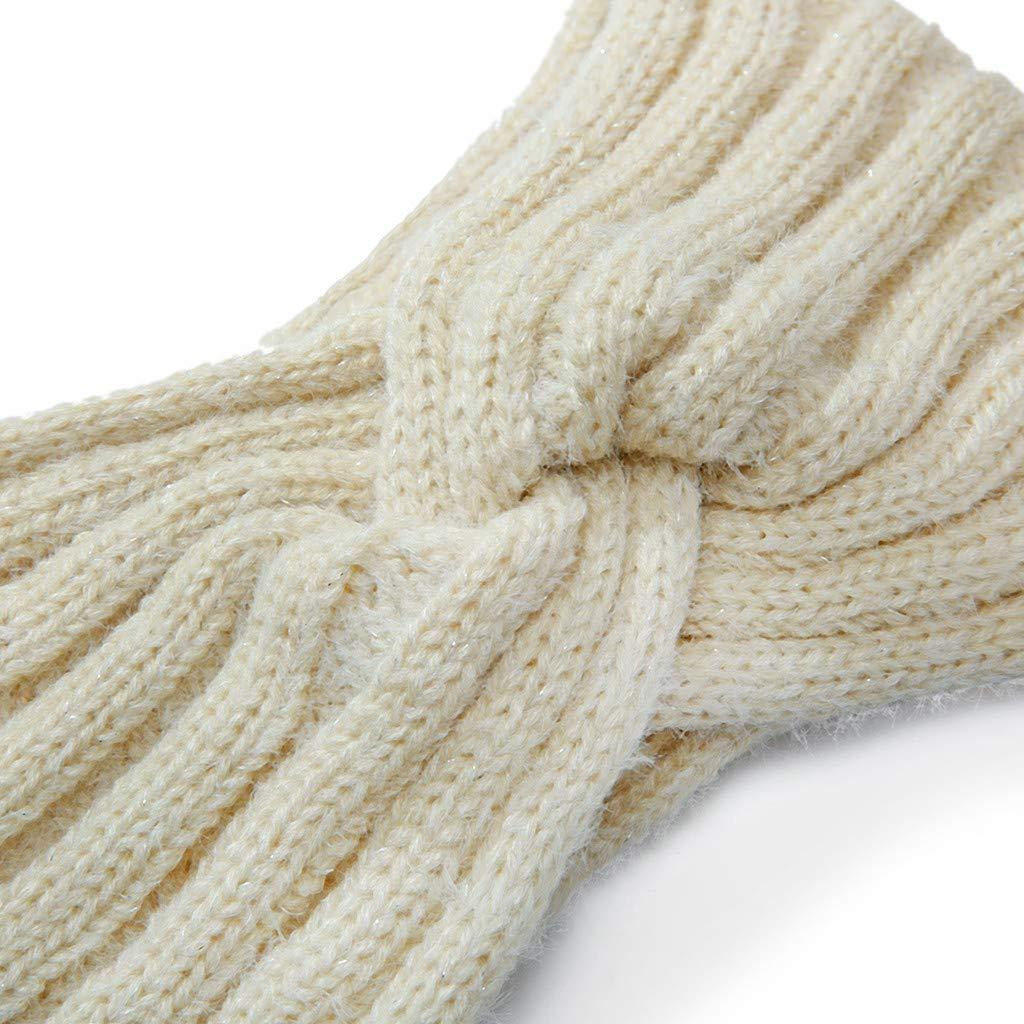 Women Knitted Headband Ear Warmer Stretchy Headwrap Head Wrap Hair Band Turban for Cold Whether by BCDshop (Khaki 2)