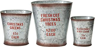 Your Heart's Delight Sleigh Christmas Trees Silver Toned 10 x 10 Metal Christmas Containers Set of 3