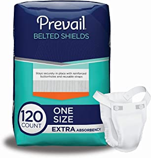 Prevail Extra Absorbency Incontinence Belted Shields 120 Total Count Breathable Rapid Absorption Discreet Comfort Fit Adult Shield with Reusable Strap