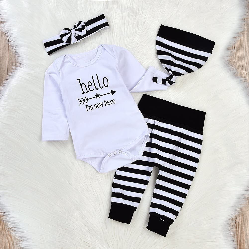 Newborn 4pcs Set Outfit Striped Hoodie with Romper Jumpsuit+ Striped Long Pants and Hat