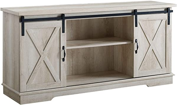 Walker Edison Furniture Company 58 Modern Farmhouse Wood TV Stand With Sliding Barn Doors Solid White Oak