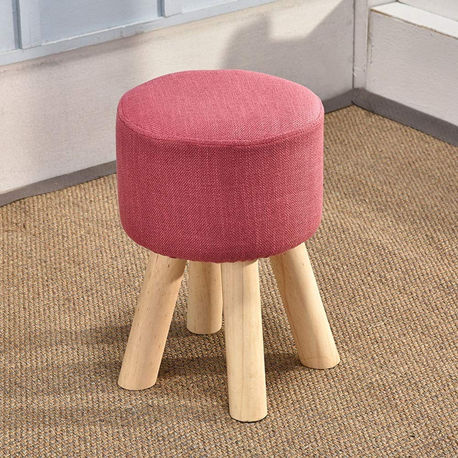 DEI QI Solid Wood Home Heightening Stool Creative Living Room Change shoes Stool Fashion Adult Stool Fabric Sofa Bench Bench (color   Red)