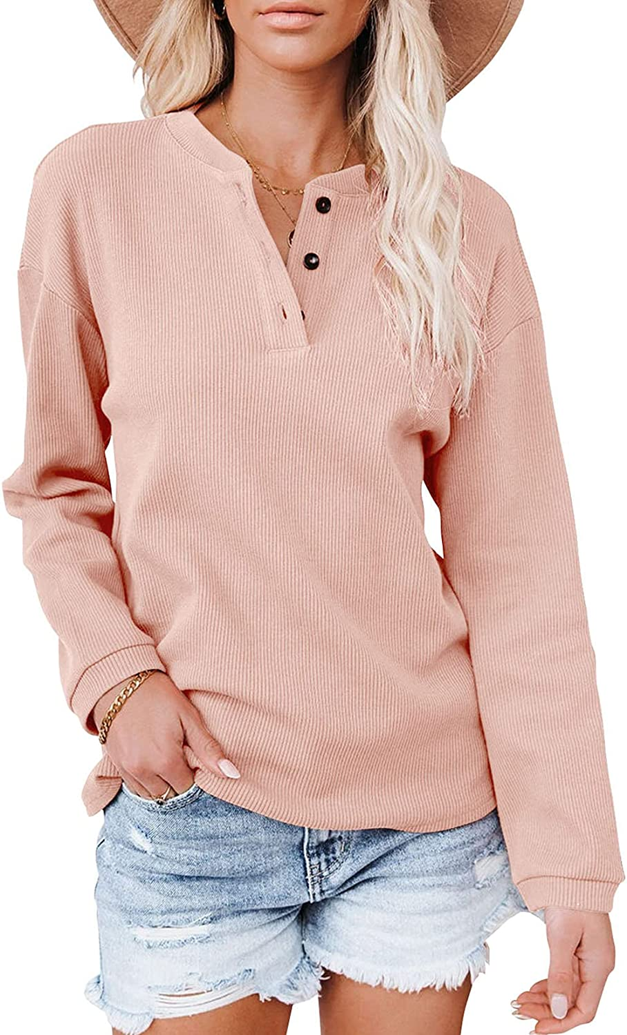 Minclouse Women's Long Sleeves Button Down Tunic Casual Loose Rib Top Basic Blouses Henley Shirts