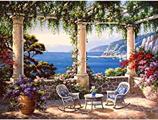 Bigie Paint by Numbers for Adults DIY Oil Painting Paint by Number kit with Scenery People PBN Home Office Wall Art Decor ...