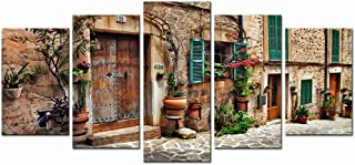 sechars - Vintage Canvas Wall Art Charming Streets of Old Mediterranean Towns Picture Canvas Prints Landcape Painting for Living Room Wall Decals,Framed 5 Pieces Wall Art Ready to Hang