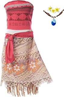 RioRand Moana Girls Adventure Outfit Cosplay Costume Skirt Set Necklace, Flower&Oar 5-6 Years