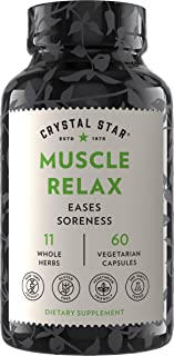 Crystal Star Muscle Relax (60 Capsules) – Herbal Pain Relief from Sore Muscles, Cramps & Spasms – Valerian Root, Jamaica D...