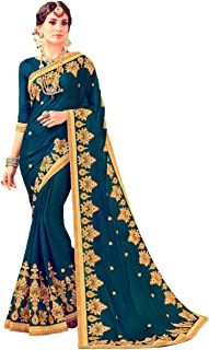 Magneitta Women`s Ethnic Wedding And Heavy Hand Work Sarees Free Size Blue