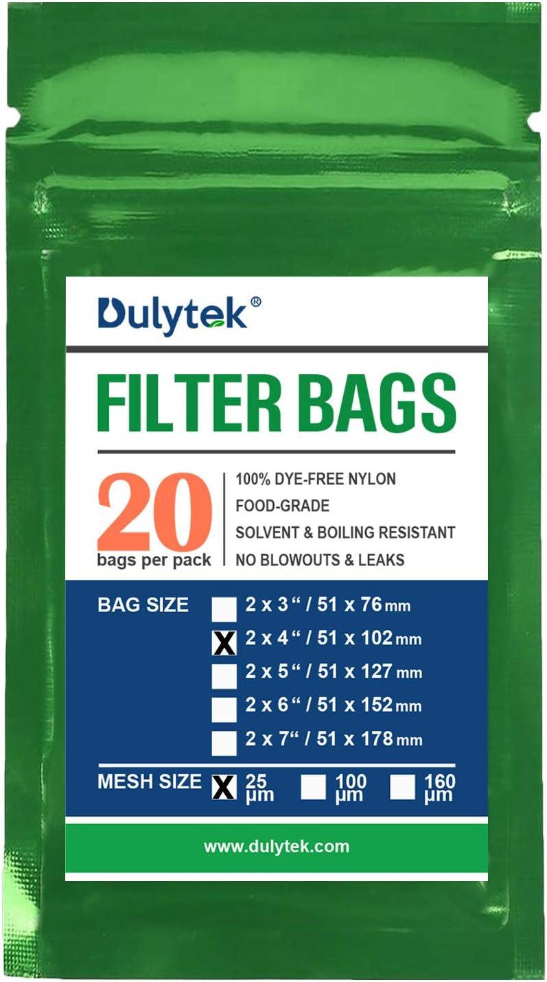 Double-Stitching 25 Micron Zero Blowouts Dulytek Premium Nylon 20 Pcs Filter Bags 2 x 4