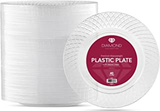 40 CRYSTAL CLEAR PLASTIC PLATES | 10.25 Inch Disposable Plates | Fancy Large Dinner Plates | Hard Round Party Plates | Heavy Duty Wedding Plates | Premium Heavyweight Big Catering Plates [Diamond]