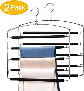 Pretigo Pants Hangers 5 Tiers Multi Pants Hanger Space Saving Trouser Hanger 2 Pack Hangers for Pants Closet Storage Organizer Multiple Slack Hanger Space Saving Pant Hangers Scarf Hangers for Pant