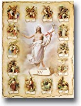 Catholic Posters The Stations of The Cross Italian Gold Embossed Poster Print, 27 Inch