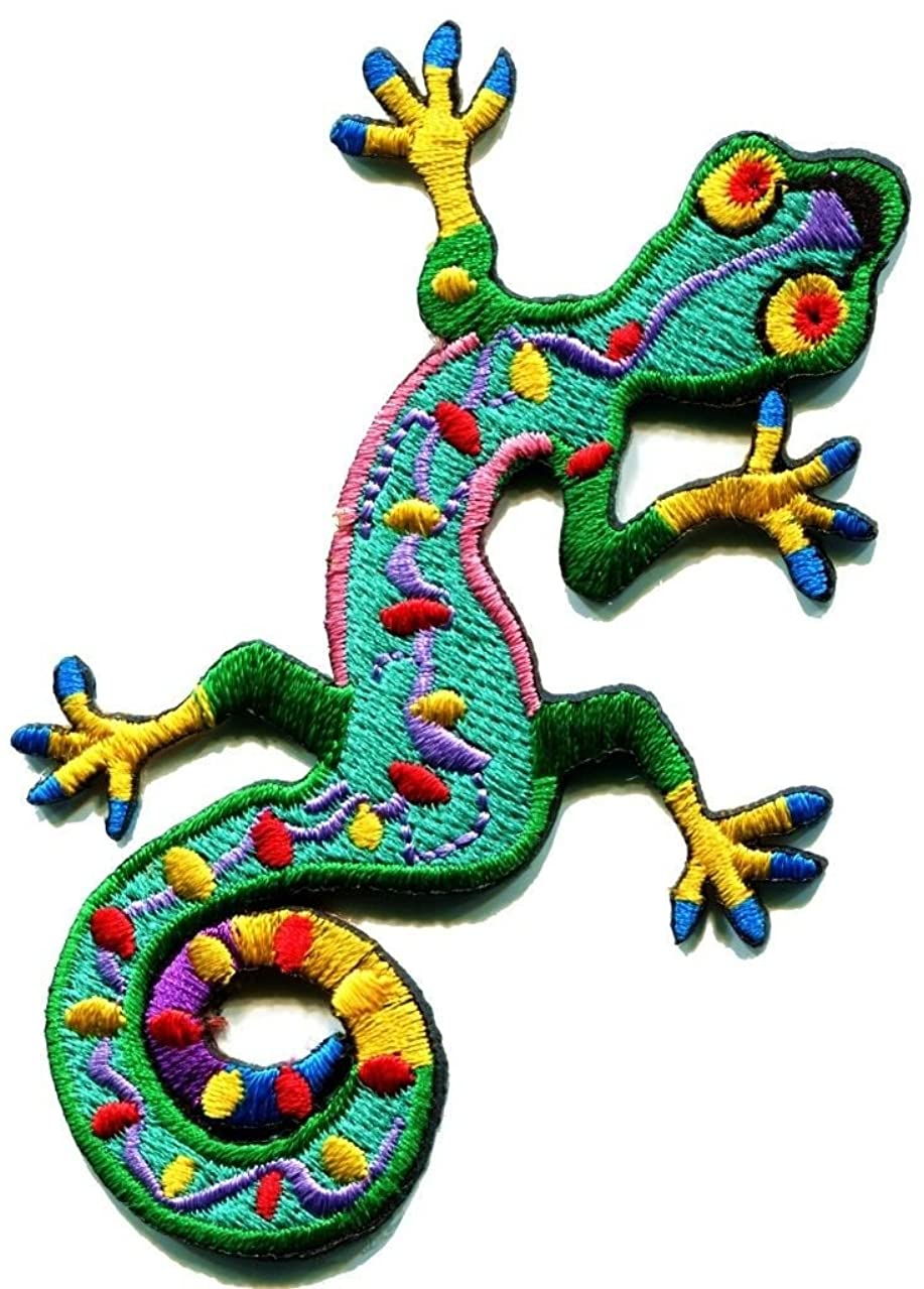 Lizard Gekko Salamander Retro Hippie Hippy Boho 70s Applique Iron-on Patch S-189 Free Shipping