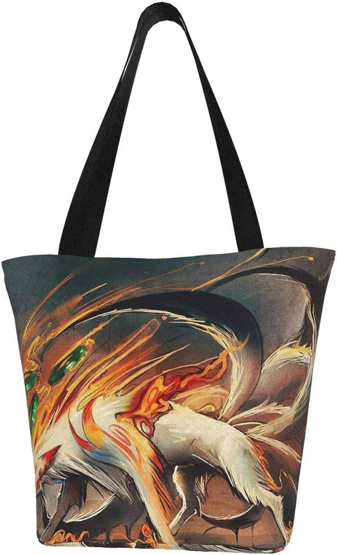 White Nine-Tailed Fox Art Themed Printed Women Canvas Handbag Zipper Shoulder Bag Work Booksbag Tote Purse Leisure Hobo Bag For Shopping