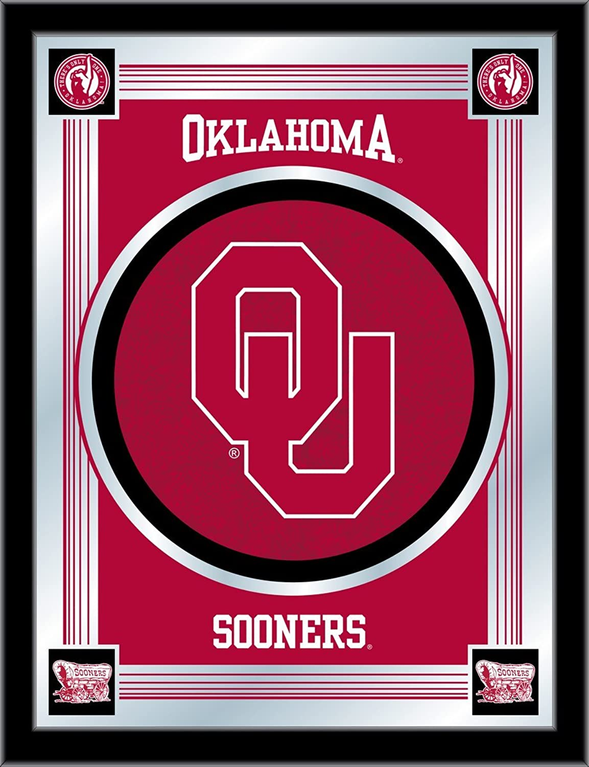 Holland Bar Stool NCAA Oklahoma Sooners Logo Mirror, 17 X 22-Inch