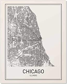 Chicago Print, Chicago Map, City Maps, Map Print, Map Art, Map of Chicago, Map Art Print, Black and White Map, Illinois, Illinois Map, Map Wall Art, Modern Cities, Minimalist Map Art, 8x10
