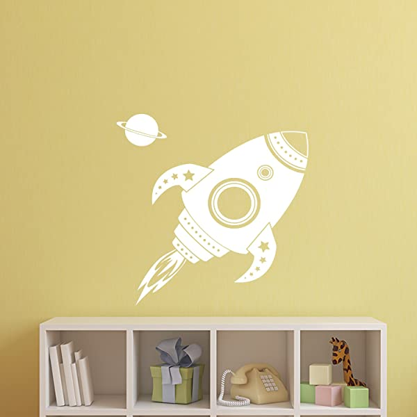 Imprinted Designs Spaceship Rocket With Planet Wall Decal Sticker Art In White 22 X 22 Kids Room Wall Art Children S Room Decor Cute Boy S Nursery Wall Decorations