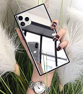 DELFINO Square for iPhone 12 Pro Max Mirror Case, Luxury Glass Glossy Mirror Shockproof Smooth Hard Case with Soft Silicon...