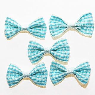 20 x Noeuds en Ruban Vichy Petits Carreaux : pour Scrapbooking Couture Déco - Turquoise
