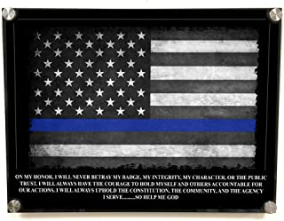 Brotherhood Police Officer Gifts Oath Stand Off Wall Decor - Thin Blue Line Wall Art American Flag Police Academy Graduation Gift - Police Wall Decor