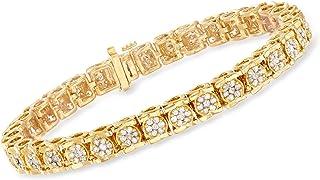 Ross-Simons 3.00-3.30 ct. t.w. Diamond Cluster Bracelet in 18kt Gold Over Sterling