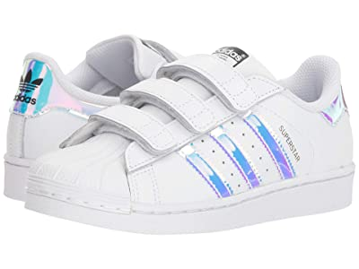 adidas Originals Kids Superstar Metallic CMF C (Little Kid) (White/Metallic Silver) Girls Shoes