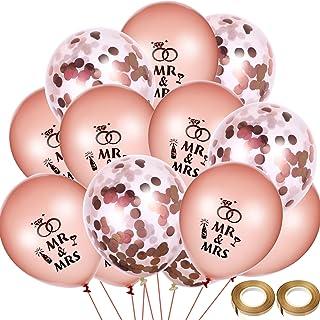 40 Piezas de Globos de Boda Globos Mr Mrs Dorado Rosado Globos con Confeti con 2 Rollos de Cinta de Globo para Decoración de Boda Aniversario Compromiso Fiesta