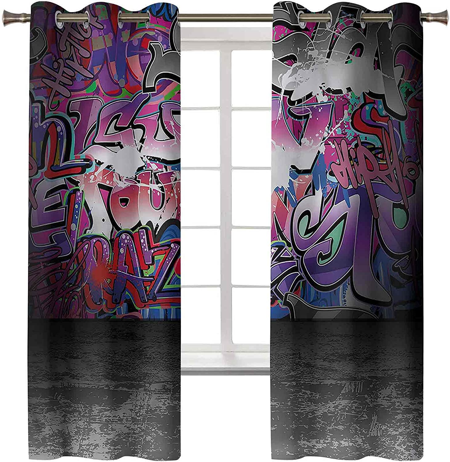 High order Easy-to-use Graffiti Thermal Insulated Curtains Set of 45L I 2 Panels 38W x