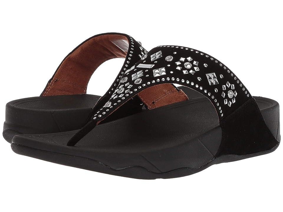 FitFlop Lulu Aztek Stud Toe-Thong Sandals Suede (Black) Women