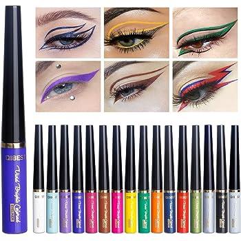 Matte Liquid Eyeliner Set, 16 Colors Matt & Metal Waterproof Highly Pigmented Eye Liner Pencil/Superstay Liquid Eyeshadow by Rechoo (LO 16 PCS)