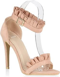 Damen Sandaletten High Heels mit Pfennigabsatz Strass Hochzeit Abiball Flandell