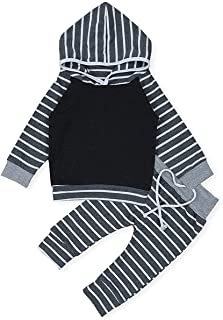 Baby Girls Boys Clothes Infant Baby Gray and White Stripe Hoodie Tops Sweatsuit Long Sleeve Pants Outfit Set