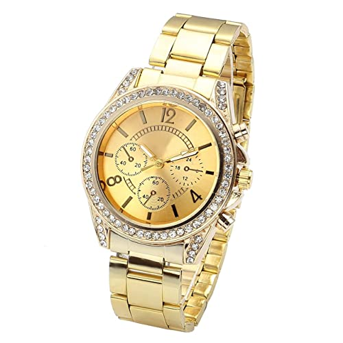 Top Plaza Unisex Gold Fashion Womens Mens Crystal Accented Analog Quartz Bracelet Watch
