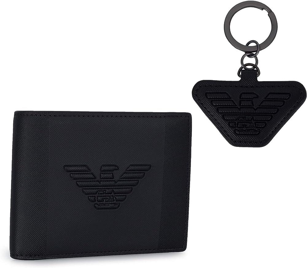 Emporio armani set portachiavi e portafoglio con logo a rilievo. Y4R174-YFE6J-81072