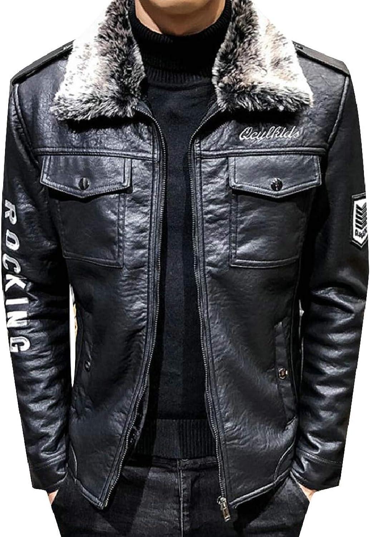 Pujingge-CA Men's Winter Faux Fur Collar Jacket Design Faux Leather Motorcycle Coat