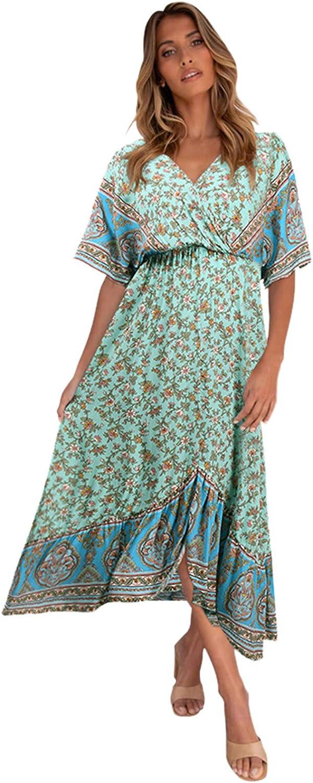 GOODTRADE8 Summer Dresses Maxi Dress Women Floral Print Short Sleeve Sexy V Neck Cocktail Party Beach Long Dress