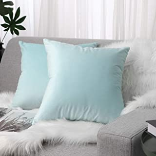 Lewondr Velvet Soft Throw Pillow Cover, 2 Pack Modern Solid Color Square Decorative Throw Pillow Case Cushion Covers for Car Sofa Bed Couch Home Decor, 18