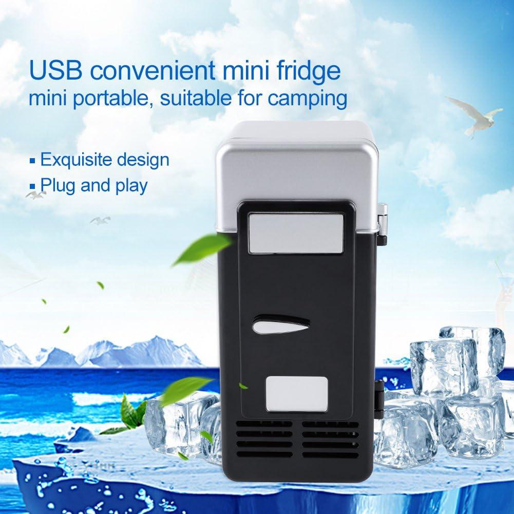schwarz Ymiko USB-K/ühlschrank Getr/änke Getr/änkedosen K/ühlschrank LED Mini-USB-K/ühlschrank tragbar und Heizung f/ür Laptop Auto PC Computer