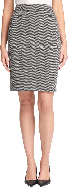DKNY Womens Knit Pencil Skirt, Grey, 8