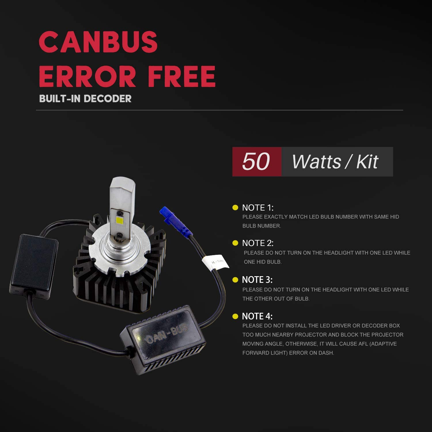 CanBus Error Free Replacement 2 Pack 70W 8400Lms 6000K White and Compatible with Ballast of D4S D4R D4C Xenon HID Headlight Bulb VehiCode D4S D4R LED Headlight Conversion Kit