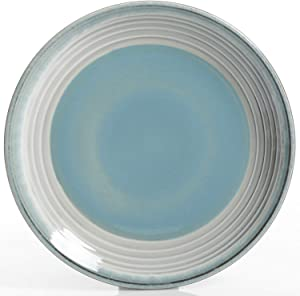 Gibson Elite Sunbreeze 16 Piece Double Bowl Terracotta Dinnerware Set, Blue